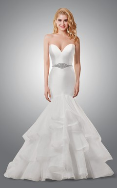Modern Sweetheart Mermaid Wedding Dress With Cascading Ruffles