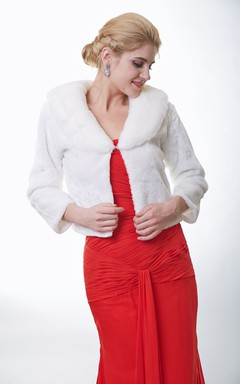 Long Sleeve Ivory Faux Fur Wrap