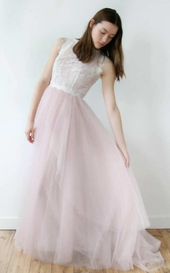 High Neck Sleeveless Tulle Floor-Length Dress With Lace Top