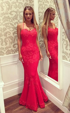 Mermaid Spaghetti Straps Lace Backless Straps Dress