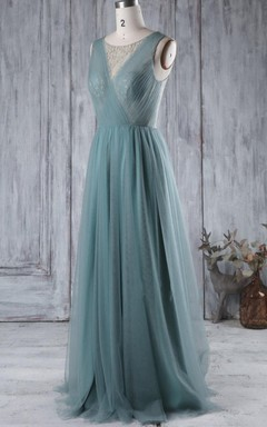 A-line Floor-length Tulle Dress With Beading&Illusion