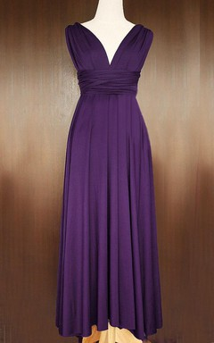 Grape Bridesmaid Infinity Convertible Wrap Floor-length Dress