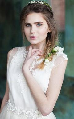 Natural Organza Lace Backless Wedding Dress
