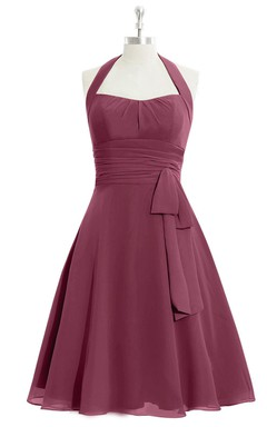 A-Line Chiffon Dress With Halter and Bow Sash