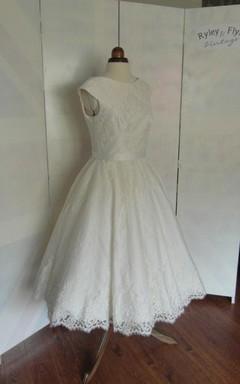 Cap Sleeve Jewel Neck A-Line Pleated Rose Lace Tea Length Wedding Dress