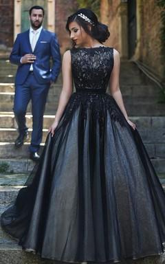 Elegant Sleeveless Tulle Black A-line Evening Dress Lace Appliques