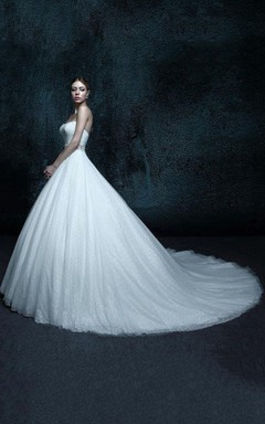 A-Line Strapped Chapel Train Tulle Weddig Dress