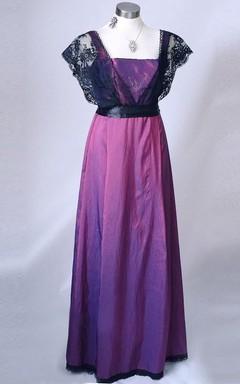 A-Line Poet Sleeve Floor-Length Dress Lace