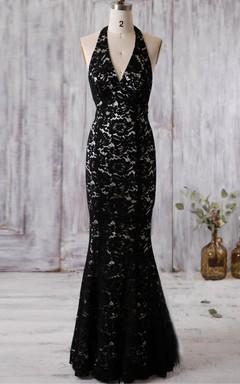 Halter V-neck Backless Lace Dress