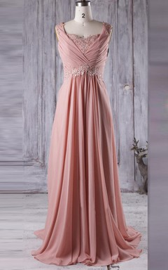 Maxi Chiffon&Lace Dress With Pleats&Beading
