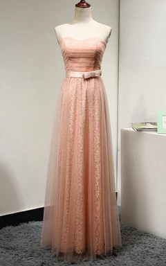 Pleated Tulle Dress With Lace Lining and Bow