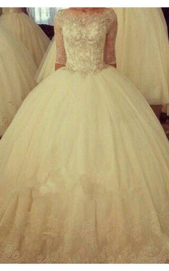 Delicate Half Sleeve Tulle Lace Wedding Dress Ball Gown