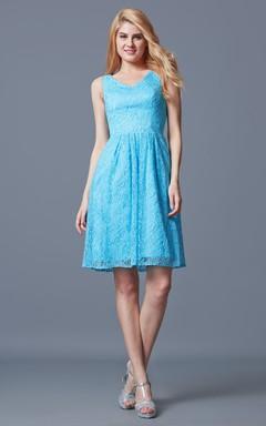 Fantastic Sleeveless V-neck Pleated Short Lace Dress