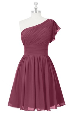 Short One-Shoulder A-Line Chiffon Dress With Ruching and Ruffled Sleeve