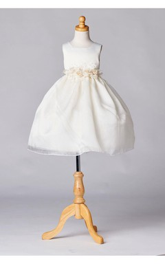 Flower Girl Dress Ivory Satin Organza Layered Skirt With Flowers Waist