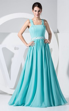 Strapped Chiffon Floor-Length Gown with Pleats and Beaded Waist