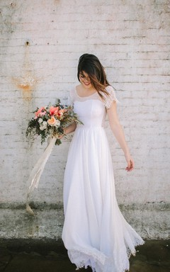 Scoop Neck Cap Sleeve A-Line Chiffon Wedding Dress With Lace Hem