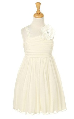 Sleeveless A-line Ruched Dress With Flower