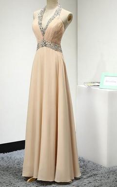 Sleeveless Chiffon Dress With Beading And Ruching