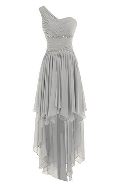One-shoulder Asymmetrical Chiffon Dress With Sequins