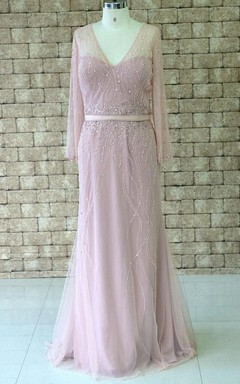 V-neck Chiffon&Tulle Dress With Beading
