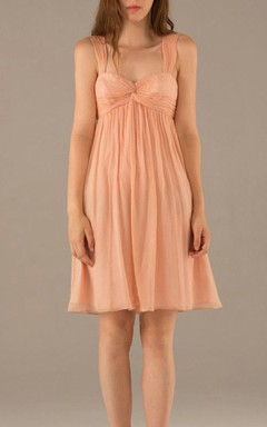 Mini Strapped Sweetheart Chiffon Dress With Pleats