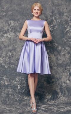A-line High Neck Short Satin Dress Bridesmaid Dress