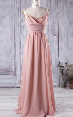 Maxi Chiffon Dress With Draping&Beading