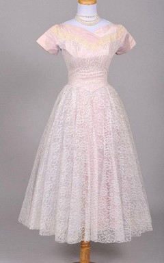 1950 Lilac Lace Vintage Wedding Dress