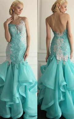 Glamorous Lace Appliques Prom Dresses 2016 Floor Length With Ruffles