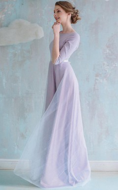 A-line Long Organza&Satin Dress With Flower