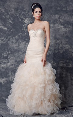 Shinning Lace Sweet Neck Ruched Long Organza Gown With Court Train
