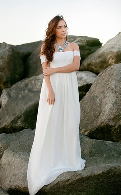 Wedding Lace And Chiffon Babydoll Wedding Gown Bohemian Dress