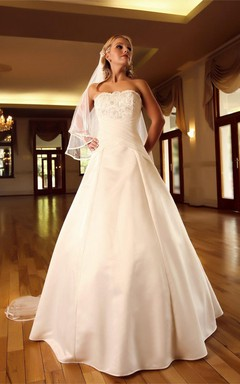 Strapless Satin Ball Gown With Appliques and Ruching