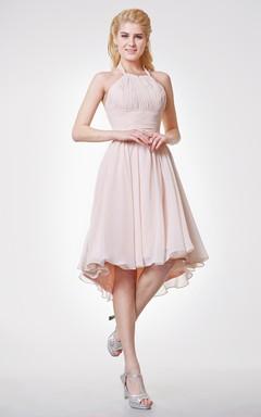 Halter Empire High Low Bridesmaid Dress