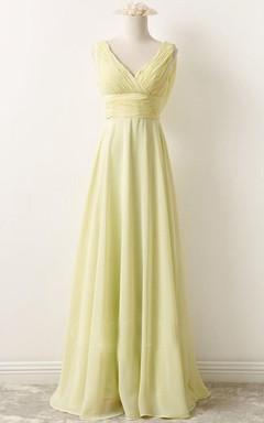 V-neck Chiffon Dress With Draping