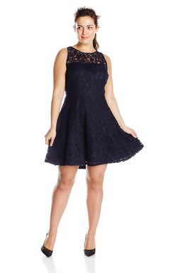 Sleeveless A-line Lace Dress With Illusion Neck