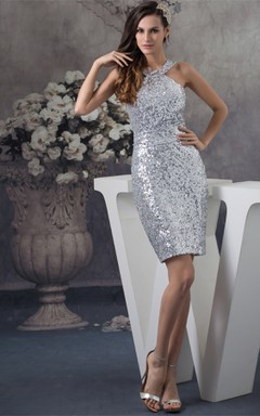 High-Neck Sleeveless Sequined Mini-Length Dress with Belt and Zipper Back