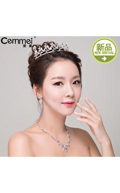 Bride Headdress Korean Crown Zircon Necklace Earrings Western Wedding White Wedding Accessories