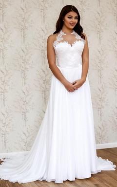 Unique Halter Long A-Line Chiffon Wedding Dress With Lace Appliques