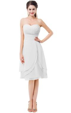 Sweetheart Asymmetrical Ruched Knee-length Layered Chiffon Dress