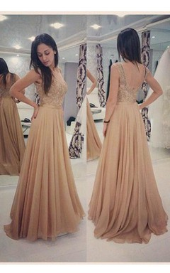 Sleeveless Cap Sleeve A-line Long Dress with Lace