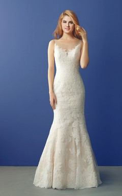 Fit and Flare Lace Wedding Dress with Illusin Neck