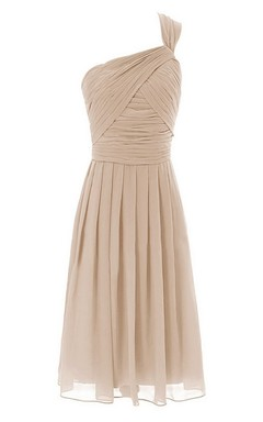 One-shoulder Short Dress With Crisscross Pleats