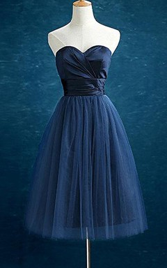 Knee-length Sweetheart Chiffon&Tulle Dress