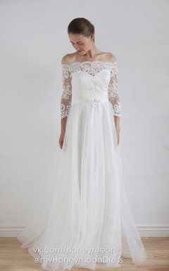 Off-The-Shoulder Tulle Lace Taffeta Dress With Button