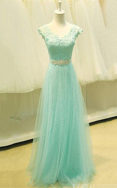 V-neck Cap Sleeve A-line Tulle Lace Bodice Dress
