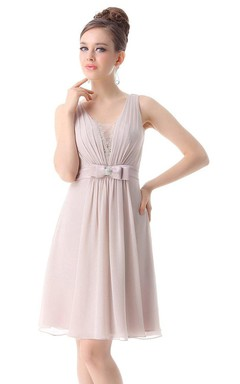 Sleeveless Knee-length Chiffon Dress With Bow
