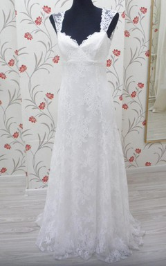 Boho V-Neck Lace Bridal Gown With Empire Waist