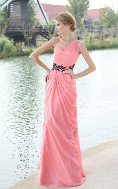 Asymmetrical One-Shoulder Dress With Draping And Beaded Waistband